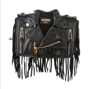 Moschino Fringe motorcycle jacket shoulder bag